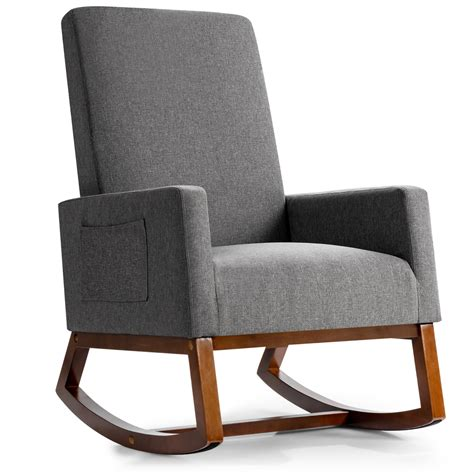 Amory high back arm chair a comfortable and soft armchair that features a long backrest for even more convenience. Giantex Upholstered Rocking Chair Modern High Back ...