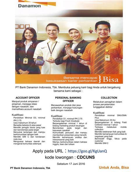lowongan kerja pt bank danamon indonesia tbk ditutup