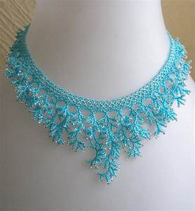 Pattern Seed Beaded Necklace Netting Stitch Detailed