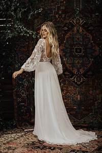 3D Cotton Lace and Silk Chiffon Flowy Wedding Dress ...