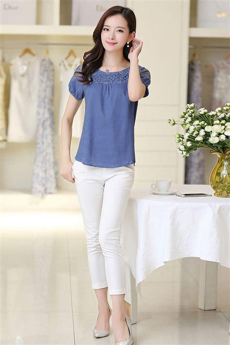 Zumeet Women Summer Casual Wear Lace Blouse Blue - Zumeet