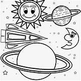 Solar Coloring System Pages Space Print Outer Planets Printable Children Galaxy Easy Planet Drawing Craft Ship Printables Cartoon Moon Learning sketch template