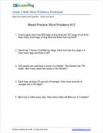 word problems 3rd grade math worksheets with word problems for grade 3 students k5 learning