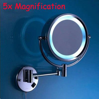 Retractable Mirror Bathroom by 5x Magnification Led Mirror Brass Cosmetic Mirror Wall
