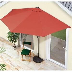 easymaxx balkon sonnenschirm halbrund terracotta With französischer balkon mit sonnenschirm xl