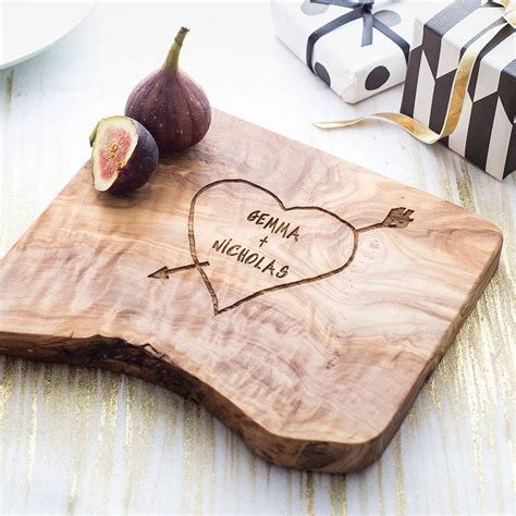 personalised carved heart cheese board   rustic dish