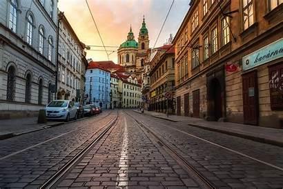 Prague Street Czech Republic Cityscape Concrete Brown
