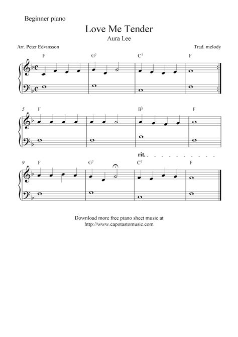 The selection of songs is quite impressive and touch on all genres of music. Free easy piano sheet music for beginners, Love Me Tender (Aura Lee)