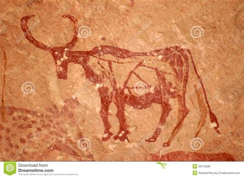 cave painting  bull tadrart acacus mountains west