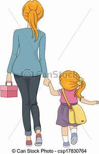 Clip Art Vector of Walking to School - Illustration of a ...
