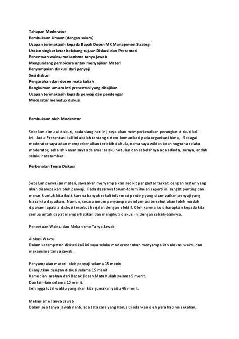 Contoh Teks Notulen by Doc Tahapan Moderator Pembukaan Umum Wildan Bean