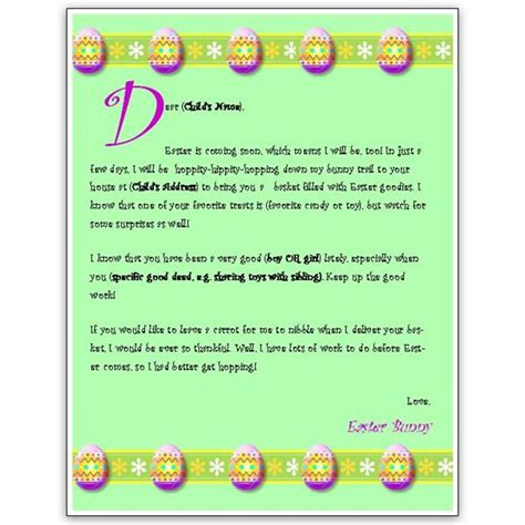 easter bunny letter template  ms word