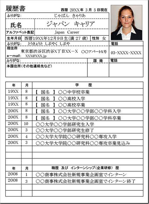 Resume For In Japan by Resume Japan Carrer