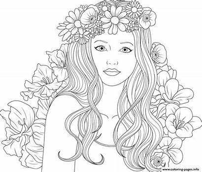 Coloring Adult Flowers Pages Printable