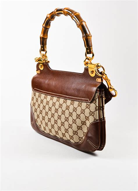 gucci gucci brown canvas leather bamboo monogram