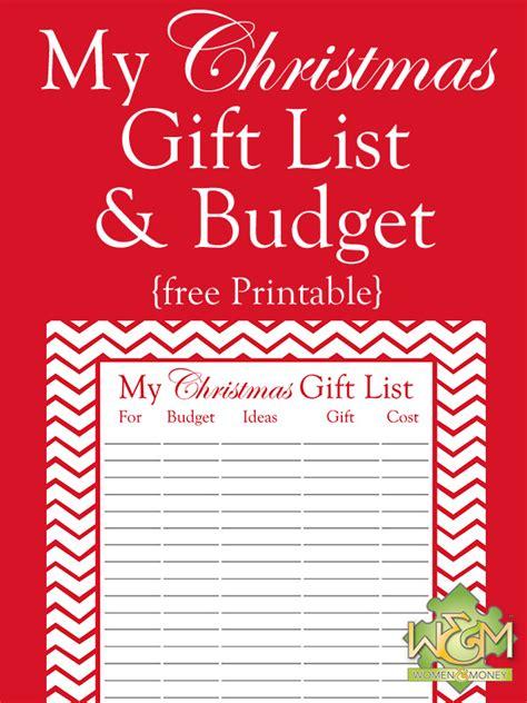 christmas gift list and budget printable women and money