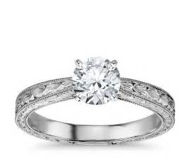 engagement rings settings engraved solitaire engagement ring in 14k white gold blue nile