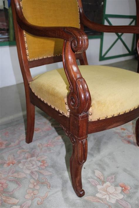 fauteuil restauration en acajou xixe antiquites lecomte