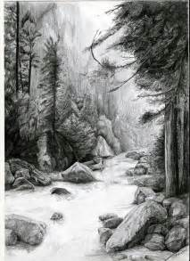 Forest with River Drawing