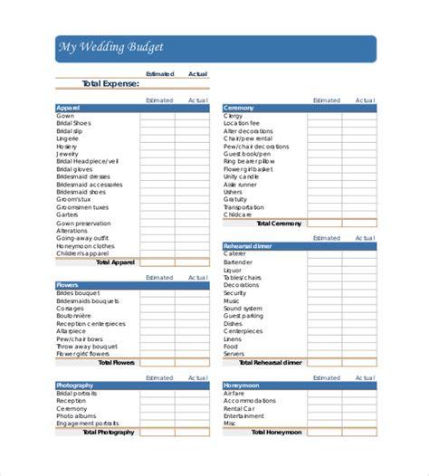 wedding budget templates  sample
