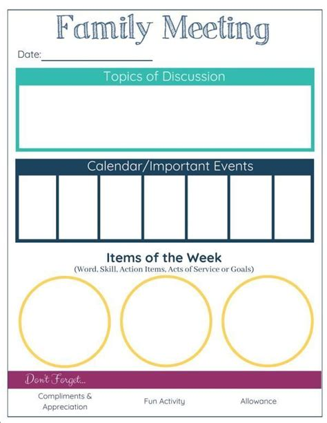 Choose from 7 printable design templates, like family meeting posters, flyers, mockups, invitation cards, business cards, brochure,etc. Family Meeting Agenda Printable   Family meeting, Family ...