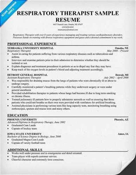 28 certified respiratory therapist resume sales resume