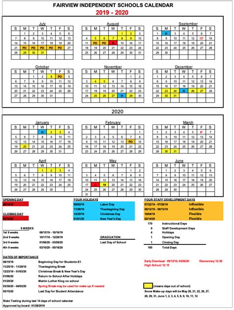 school calendar fairview elementary school