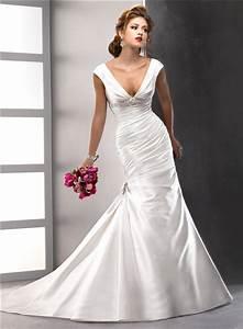 sexy trumpet mermaid v neck satin wedding dress with low With satin v neck wedding dress