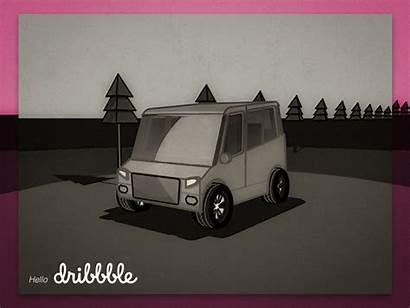 Trip Road Van Mini Dribbble Cartoon Drive