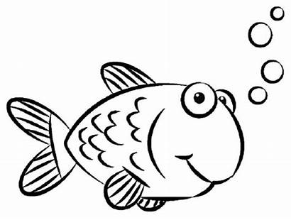 Fish Drawing Simple Clipart Coloring Colouring Pages