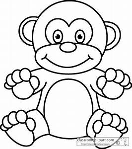 outline of a monkey clipart best With monkey body template