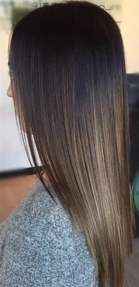 dark brown  light brown ombre long hair color ideas