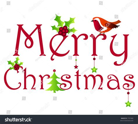 merry christmas wishes with holly tree robin and stars 7757482