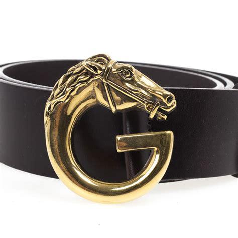 gucci brown leather horse head buckle belt cm gucci tlc