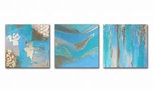 Tableau Triptyque Moderne : tableau peinture triptyque bleu feuille d 39 or salon tableau triptyque moderne bleu vert beige ~ Teatrodelosmanantiales.com Idées de Décoration