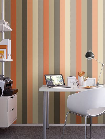 orange grey  tan striped wallpaper  wall