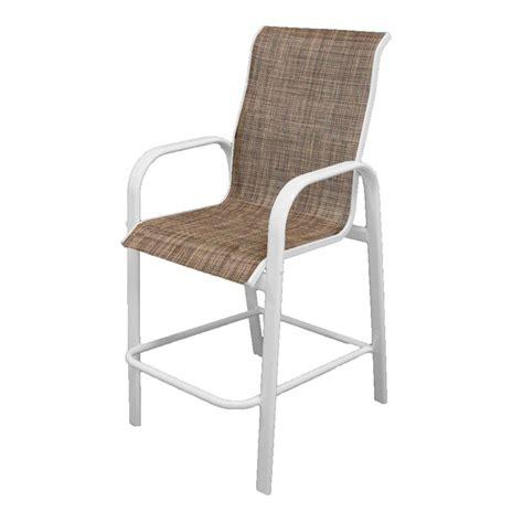 polywood textured bronze white patio bar arm chair