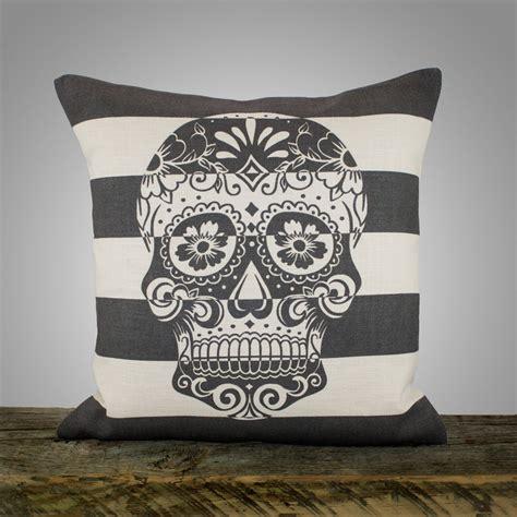 sugar skull pillow sugar skull pillow cover black and white stripe pillow