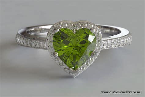 heart cut peridot diamond engagement ring new zealand