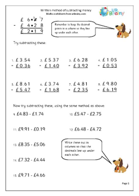 subtracting money subtraction maths worksheets for year 5