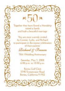 wedding program wording sles 50th wedding anniversary invitations in wedding