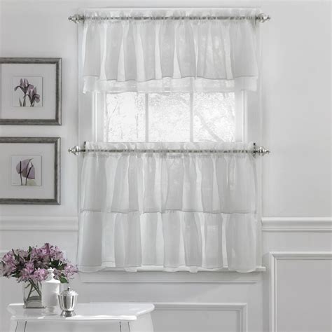 And White Valance by Crushed Voile Ruffle Kitchen Window Curtain Tiers Or