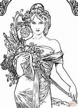 Coloring Nouveau Mucha Spring Alfons Alphonse Woman Artist Pages Painting Elegant Volume Printable Flowers Domain Designs Line Creative Drawing Portrait sketch template