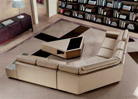 modern leather sofa with coffee table vg646 leather