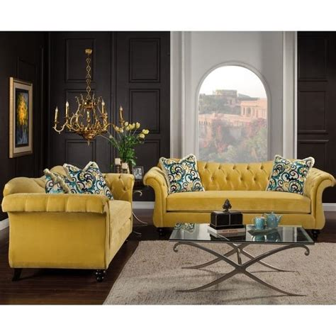 tufted sofa and loveseat set furniture of america agatha two yellow tufted sofa