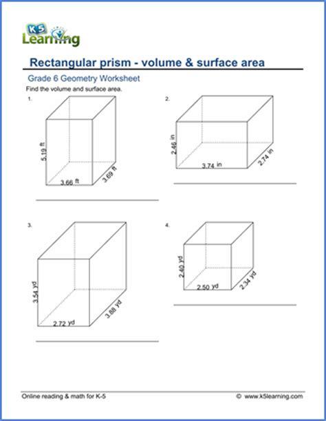 grade 6 math worksheet geometry volume surface area