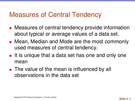 Measures Of Central Tendency Mean