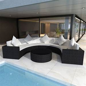 Rattan Lounge Rund : 5 seat outdoor rattan half round lounge set black buy 5 seat lounge sets ~ Indierocktalk.com Haus und Dekorationen