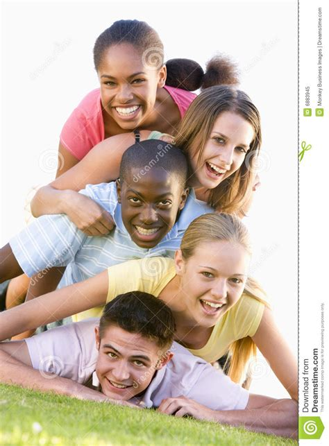 Group Teenagers Having Fun Outdoors Stock Image