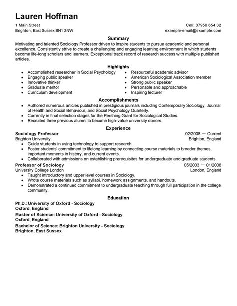 best professor resume exle livecareer